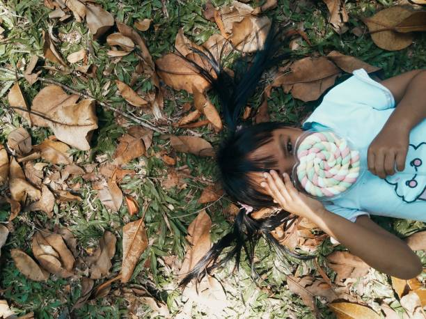 High Angle Portrait Of Girl Holding Lollipop While Lying On Land