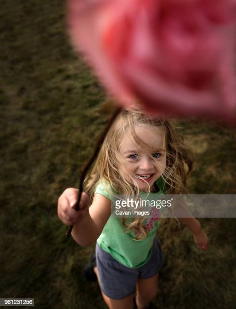 high angle portrait of girl playing on field - long stem flowers stock pictures, royalty-free photos & images