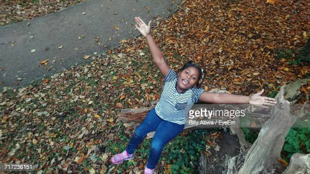 High Angle Portrait Of Girl With Arms Outstretched While Sitting On Damaged Tree Trunk During Autumn