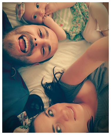 High Angle Portrait Of Happy Family On Bed At Home - gettyimageskorea