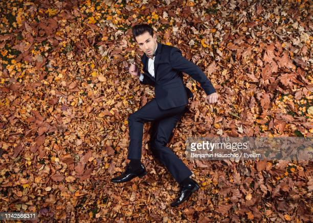 high angle portrait of mid adult man wearing suit lying on grassy field in park during autumn - lying down photos et images de collection
