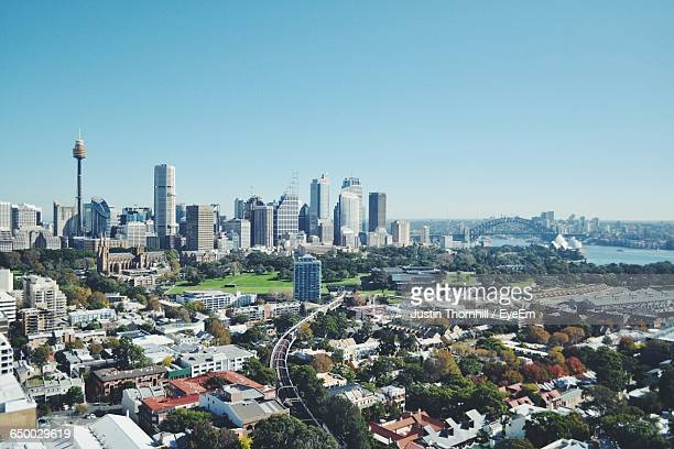 High Angle Shot Of Cityscape Against Clear Sky