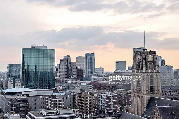 High Angle Shot Of Cityscape Against The Sky