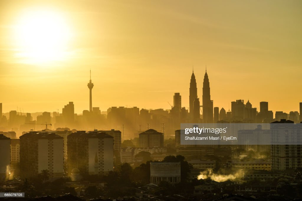 High Angle Shot Of Cityscape Against The Sky : Stock Photo