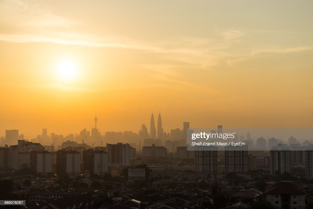 High Angle Shot Of Cityscape At Sunset : Stock Photo