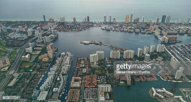 high angle shot of cityscape - miami dade county stock photos and pictures