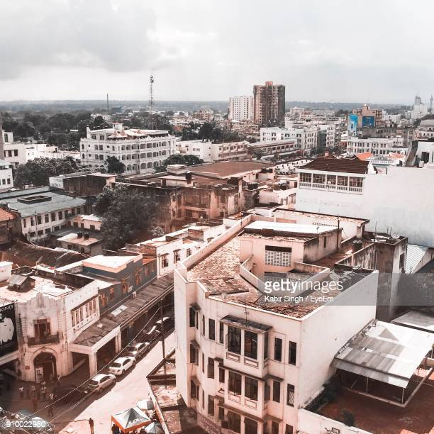 high angle shot of cityscape - mombasa stock photos and pictures