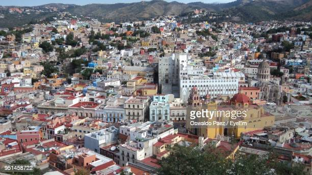 high angle shot of cityscape - mexico city aerial stock pictures, royalty-free photos & images