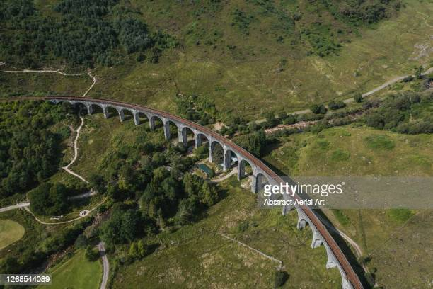 high angle shot of glenfinnan viaduct, scotland, united kingdom - aerial view stock pictures, royalty-free photos & images