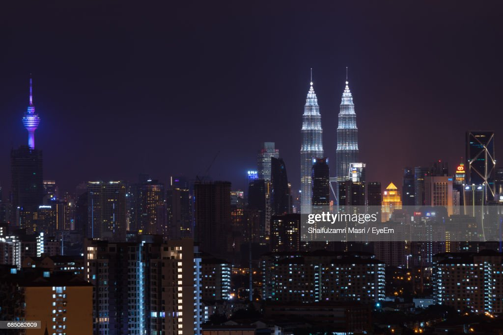 High Angle Shot Of Illuminated Cityscape : Stock Photo