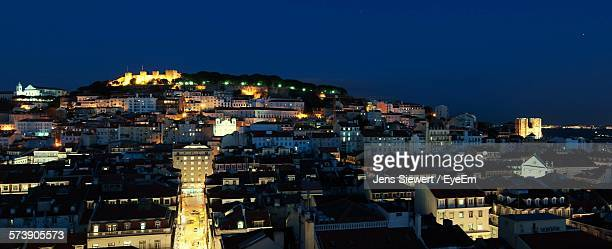 High Angle Shot Of Illuminated Townscape