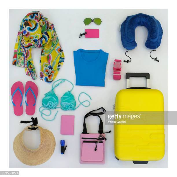 high angle shot of personal travel accesories - belongings stock photos and pictures