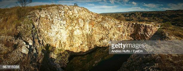 high angle shot of rocky landscape - andres ruffo stock pictures, royalty-free photos & images