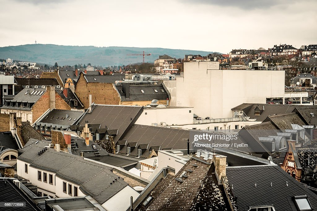 High Angle Shot Of Rooftop Houses : Stock-Foto