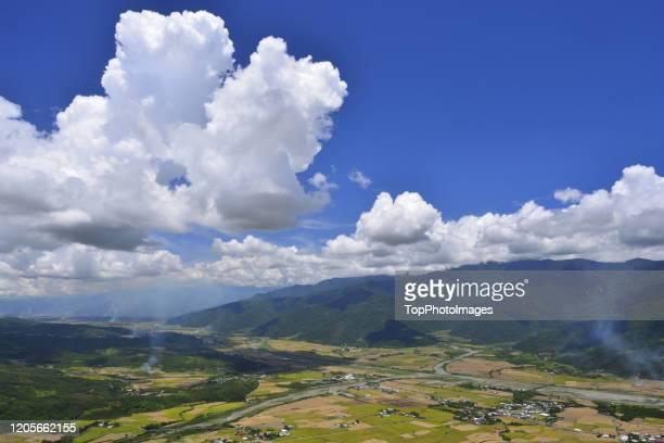 high angle shot natural landscape east