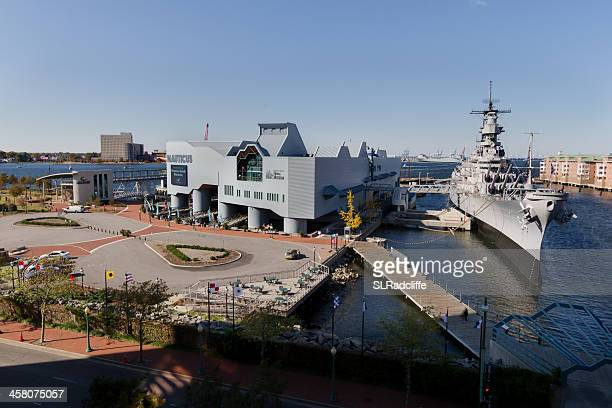 high angle shot of the uss wisconsin at nauticus. - norfolk virginia stock photos and pictures