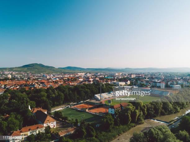 high angle shot of townscape against clear sky - bortes fotografías e imágenes de stock