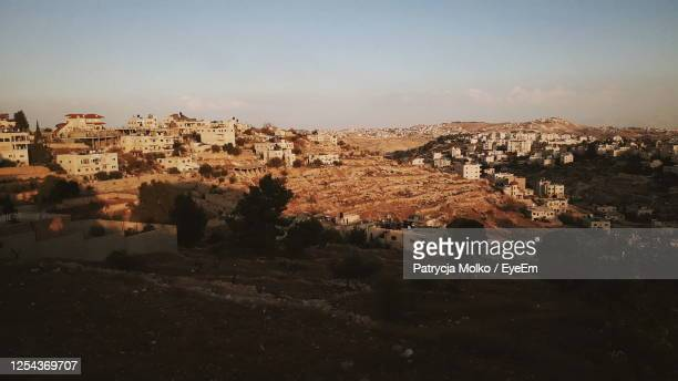 high angle shot of townscape against clear sky - bethlehem west bank stock pictures, royalty-free photos & images