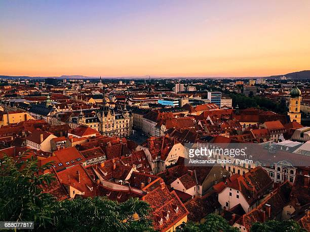 high angle shot of townscape against clear sky - graz stock photos and pictures