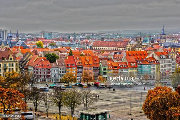 high angle shot of townscape against sky - erfurt stock pictures, royalty-free photos & images