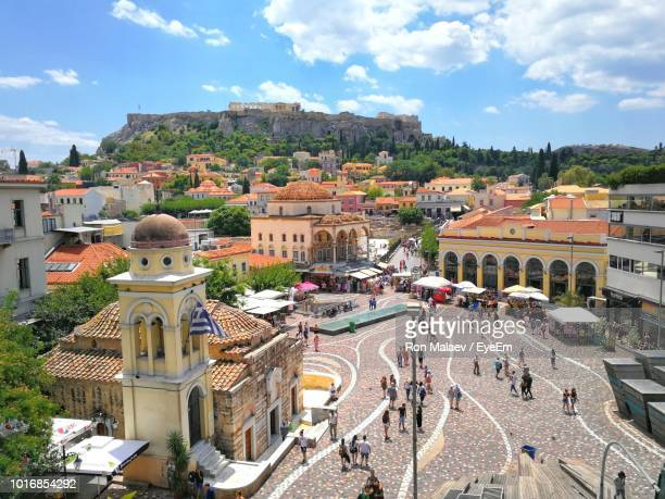 high angle shot of townscape against sky - athens greece stock pictures, royalty-free photos & images