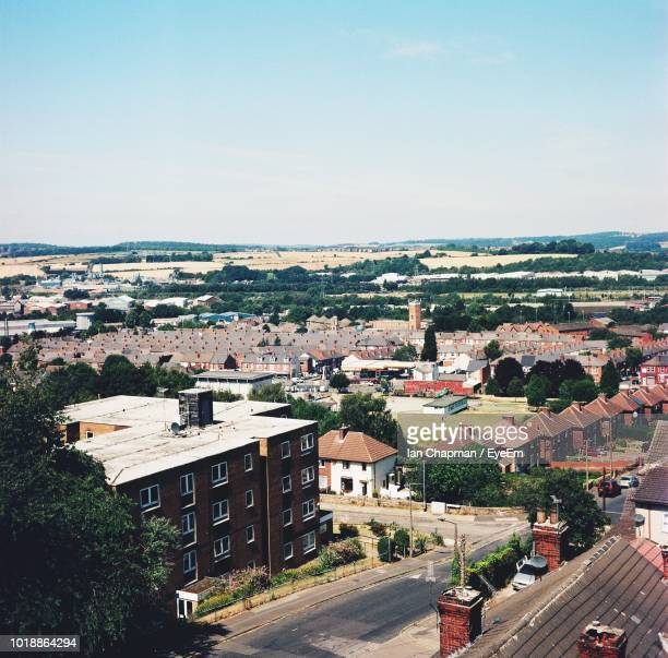 high angle shot of townscape against sky - rotherham stock pictures, royalty-free photos & images