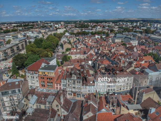 high angle shot of townscape against sky - troyes champagne ardenne photos et images de collection