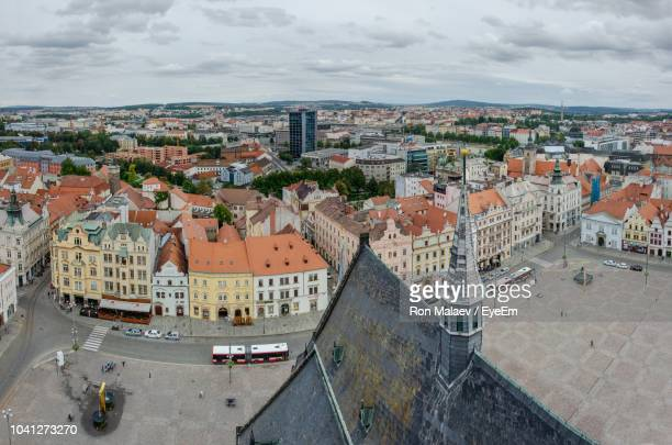 high angle shot of townscape against sky - plzeň stock pictures, royalty-free photos & images