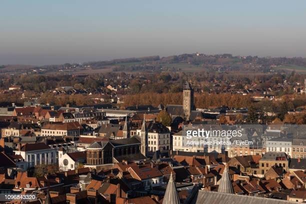 high angle shot of townscape against sky - hainaut stock pictures, royalty-free photos & images
