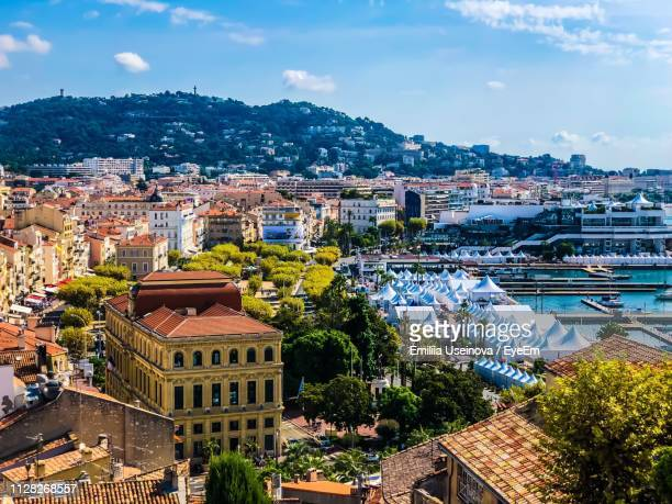 high angle shot of townscape against sky - cannes stock pictures, royalty-free photos & images