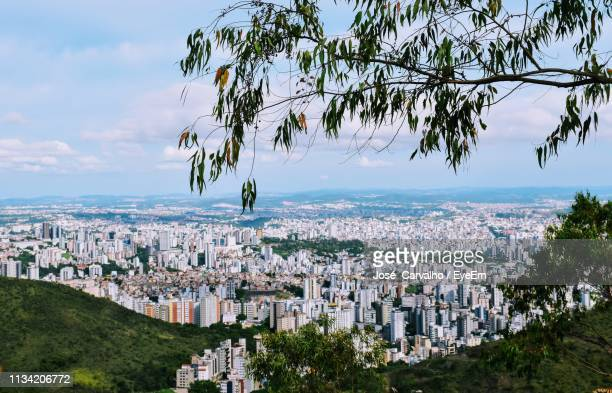 high angle shot of townscape against sky - belo horizonte stock pictures, royalty-free photos & images