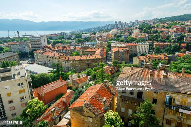 high angle shot of townscape against sky - rijeka stock pictures, royalty-free photos & images
