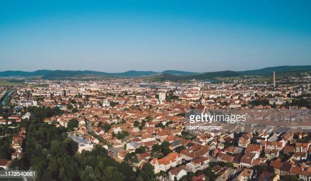 high angle shot of townscape against sky - bortes fotografías e imágenes de stock