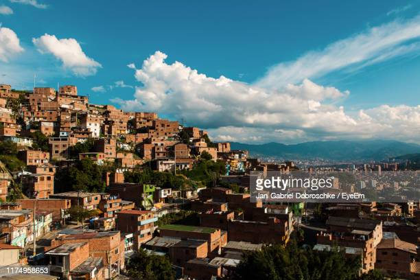 high angle shot of townscape against sky - medellin colombia stock pictures, royalty-free photos & images