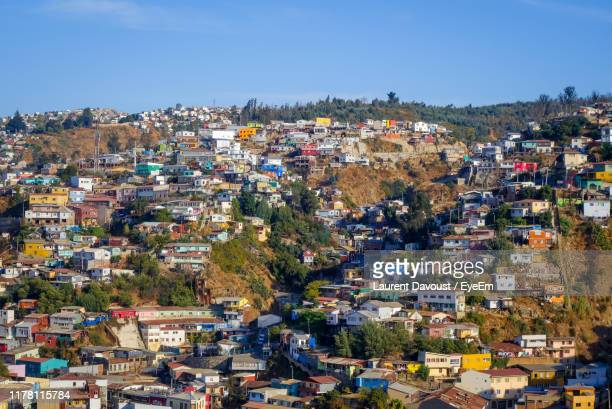 high angle shot of townscape against sky - valparaiso chile stock pictures, royalty-free photos & images
