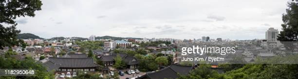 high angle shot of townscape against sky - jeonju stock pictures, royalty-free photos & images
