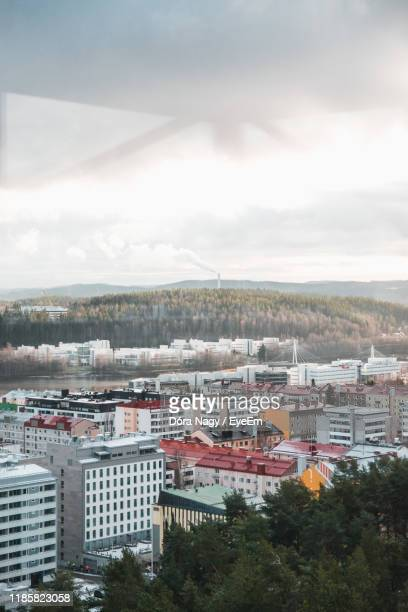 high angle shot of townscape against sky - jyväskylä stock pictures, royalty-free photos & images