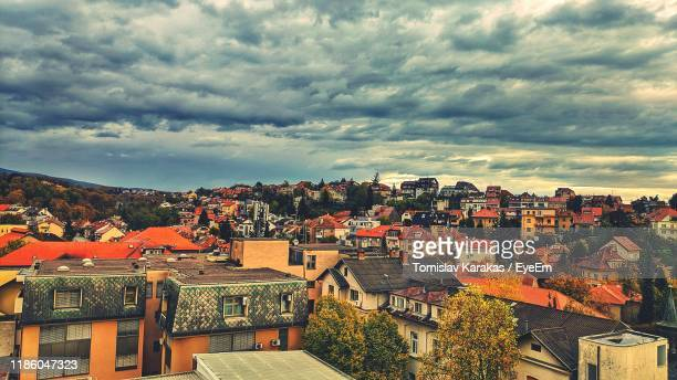 high angle shot of townscape against sky - zagreb stock-fotos und bilder