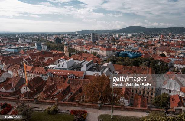 high angle shot of townscape against sky - christian soldatke stock pictures, royalty-free photos & images
