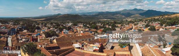 high angle shot of townscape against sky - bortes stock pictures, royalty-free photos & images