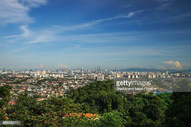 high angle shot of townscape against sky - shaifulzamri stock pictures, royalty-free photos & images