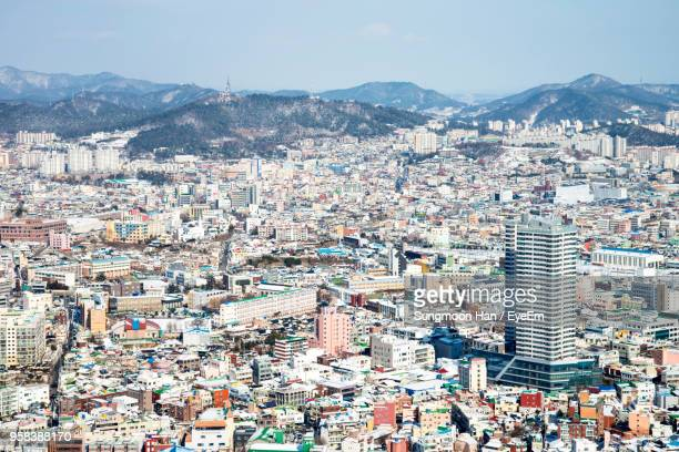 high angle shot of townscape against sky - gwangju stock pictures, royalty-free photos & images