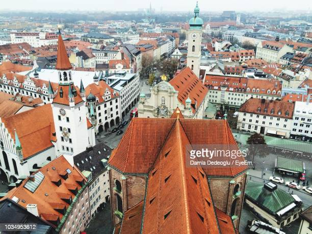 high angle shot of townscape - upper bavaria stock photos and pictures