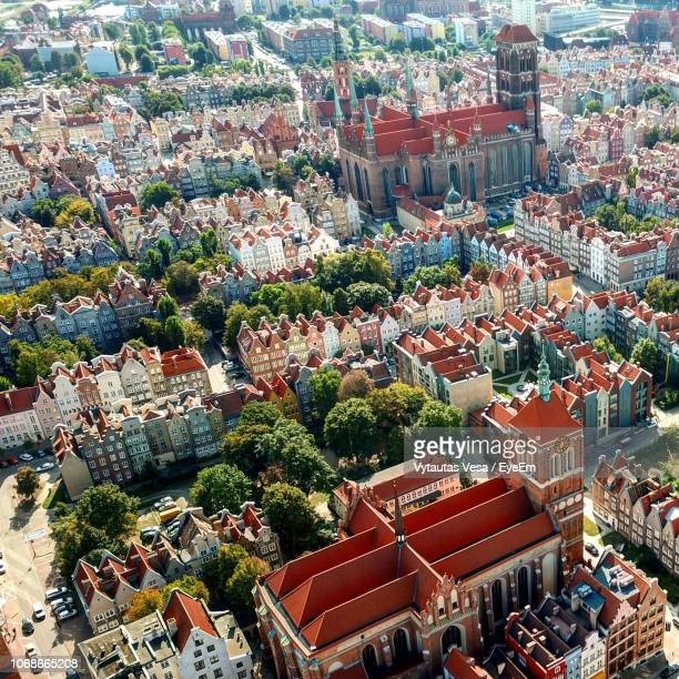 high angle shot of townscape - gdansk stock pictures, royalty-free photos & images