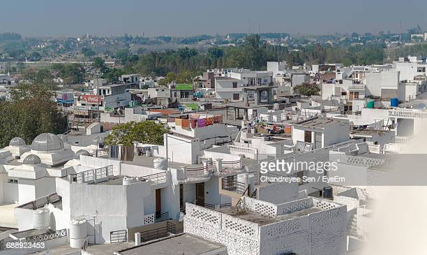 high angle shot of townscape - punjab india stock pictures, royalty-free photos & images