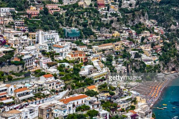 High Angle Shot Of Townscape