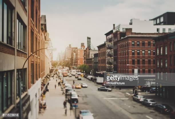Hoge hoek Streetview in Manhattan, New York City