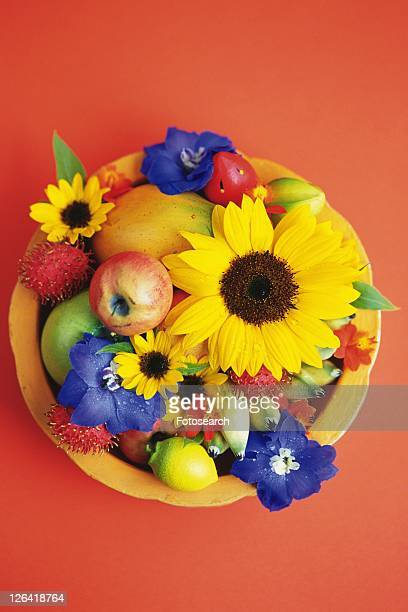 High Angle Studio Shot of Basketful Flowers and Fruits,