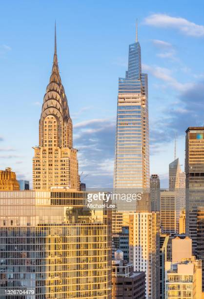 high angle sunrise view of midtown manhattan - new york - manhattan new york city stock pictures, royalty-free photos & images
