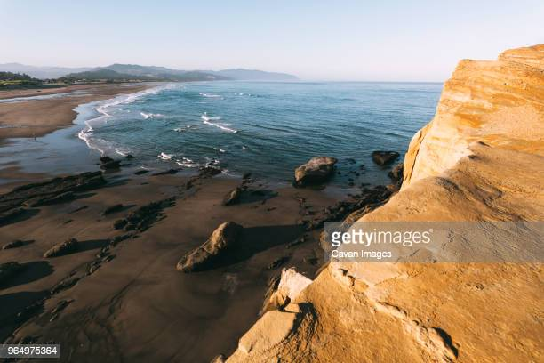 High angle tranquil view of sea against clear sky